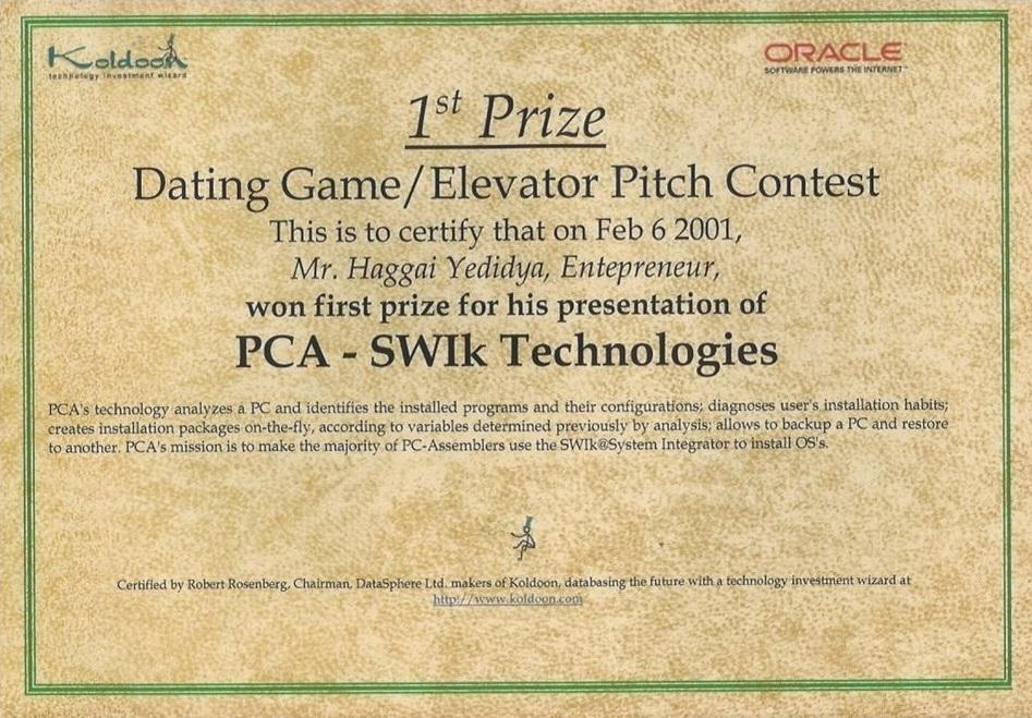 Winning 1st Prize @ Oracle's Startup Competition, Back in 2001