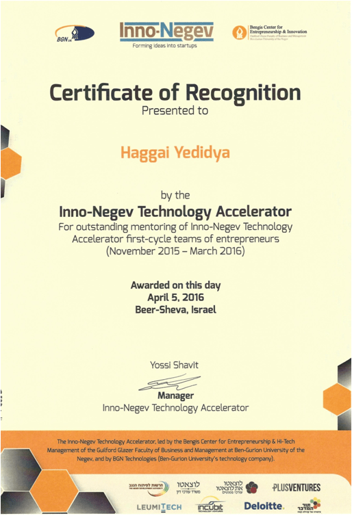 Certificate of Recognition for Haggai Yedidya, re: Mentoring in an Accelerator Program of Ben Gurion University - InnonNegev