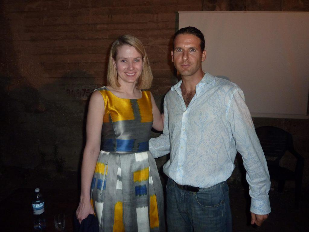 Marissa Mayer (Previously VP @ Google and CEO @ Yahoo), and Haggai Yedidya (the author), in a networking session